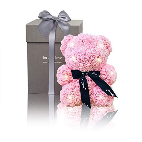 Amycute Rose Bear Flor con Caja de Regalo, Oso de Peluche de Rosa Artificial preservado Regalo Creativo para cumpleaños, día de San Valentín, Aniversario, Boda para Novia niñas