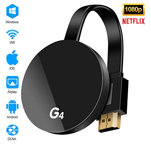 KUPVALON Adaptador inalámbrico de Pantalla WiFi Dongle 1080P HDMI Medios para Compartir Video de 2.4GHz Dongle Receptor Miracast DLNA Airplay para iOS/Android/Mac/Window/TV/Monitor/Proyector/Netflix