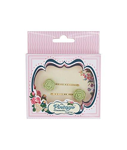 The Vintage Cosmetic Company 2 Grande Fleur Vert épingles
