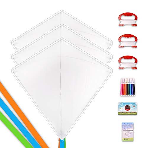 Mint's Colorful Life Kinderdrachen Bausätze Bastelset Flugdrachen für Kinder ,Einleiner Drachen Basteln Kite Kit,3 Stück
