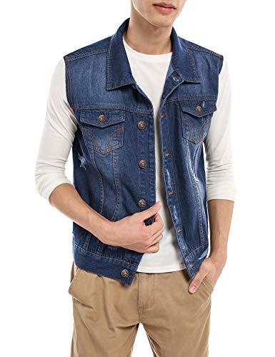 COOFANDY Men's Casual Slim Fit Denim Vest Sleeveless Button Down Lapel Jeans Vests Ripped Vintage Jean Jacket Vest Blue