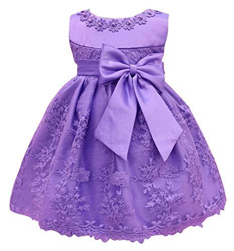 DEMU baby meisjes prinses jurk feestkleding mouwloos bruiloft bloemen bowknot doopjurk 12M paars