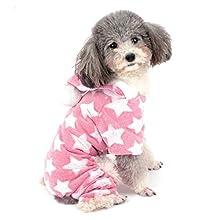 ZUNEA Pijama para Perro Pequeño Abrigo con Capucha Forro Polar Cachorros Niñas Niños Rope de Invierno Cálido Pijamas de Algodón Suave Ropa General para Mascotas Perros Gato Chihuahua Rosa XXL