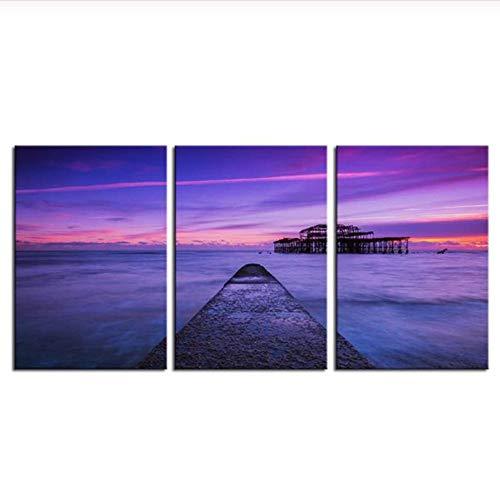 3 Piezas Inglaterra Pier UK Brighton Sea Ocean Sunset Pintura al óleo Impresa sobre Lienzo Pintura de Pared para decoración del hogar Imagen de Pared 52x70 cm (tamaño) Sin Marco