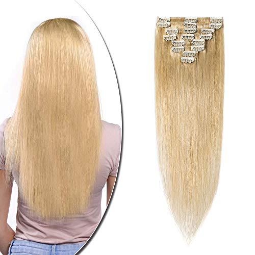 Extension a Clip Cheveux Naturel 8 Pcs - Rajout Invisible Vrai Cheveux Humain - Volume Base - #24 Blond naturel - 45 cm (70 g)