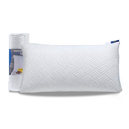 Enther Adjustable Shredded Memory Foam Home Pillow with Machine Washable Removable Cooling Bamboo Derived Rayon Cover for Side and Back Sleepers, King, White