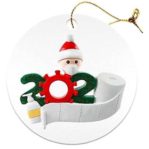 Ornamento de Navidad Árbol de Navidad Decoración Colgante de Madera Blanco 2020 Familia de 4 Partes Regalo 5pcs Party Home Supplies