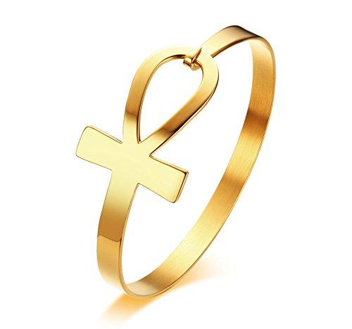 VNOX Acero Inoxidable Cruzada Lateral de la Vida Epyptian Ankh Brazalete Pulsera para Mujeres Oro,59mm de Diámetro