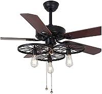 SHU サイレント天井扇風機の光レトロの産業スタイルの天井のファンライトのリモコンの寝室の天井のファンの省エネ、52インチ (サイズ : 52 Inches)