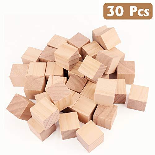 Kurtzy Bloques de Madera (30 Piezas) - 3x3x3cm Cubos de Madera - Natural Inconcluso Bloques de Madera para Bricolaje, Arte y Arte y Proyectos de Números