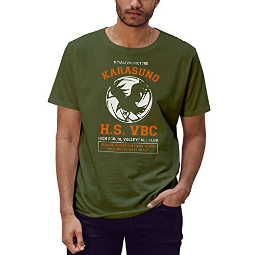 ROSETRAIL Haikyuu Karasuno High School Volleyball Club T-Shirt Vert Militaire pour Les Hommes Size XL