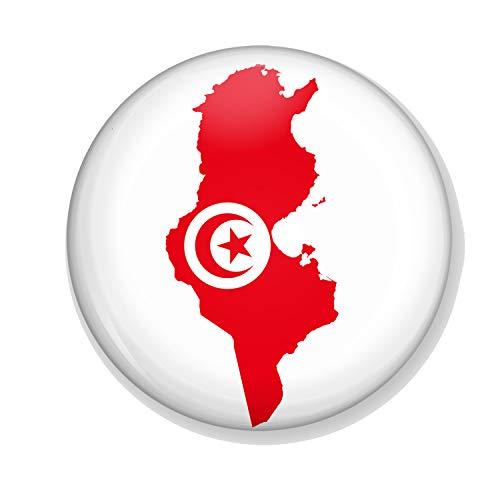 Gifts & Gadgets Co. Kühlschrankmagnet, Tunesische Flagge auf der Karte von Tunesien, 58 mm, groß, Bedruckt, runde Knöpfe