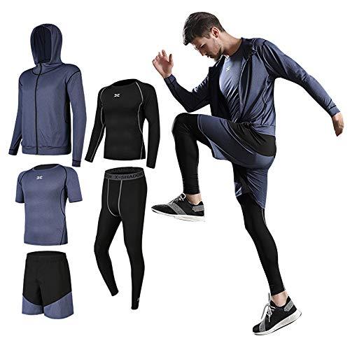 Lachi Uomo 5 Pezzi Fitness Completi Palestra Sportivi Abbigliamento Giacca con Cappuccio Manica Corta Manica Lunga Camicie a Compressione Pantaloni a Compressione Pantaloncini Vestiti Leggings Set