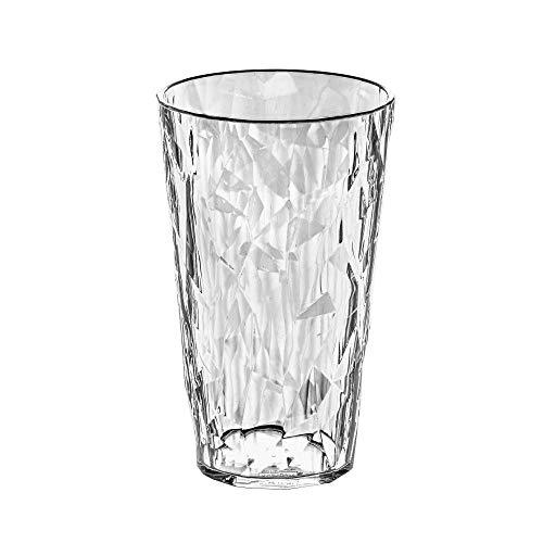 koziol Glas 400 ml Club L, thermoplastischer Kunststoff, transparent klar, 8,8 x 8,8 x 14,1 cm