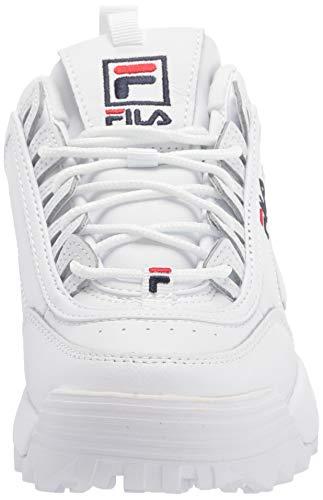 Fila Disruptor II - Zapatillas deportivas para mujer, Blanco (Blanco/azul marino/rojo), 38 EU