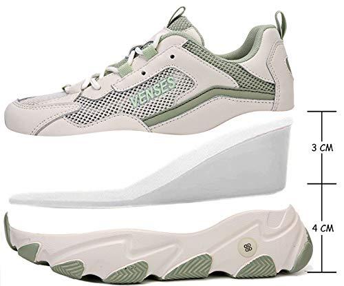 GILKUO Zapatillas Cuña Mujer Deportivas Verano Zapatillas de Deporte Plataforma Sneakers Cuña Interior Talón 7 cm Verde 37