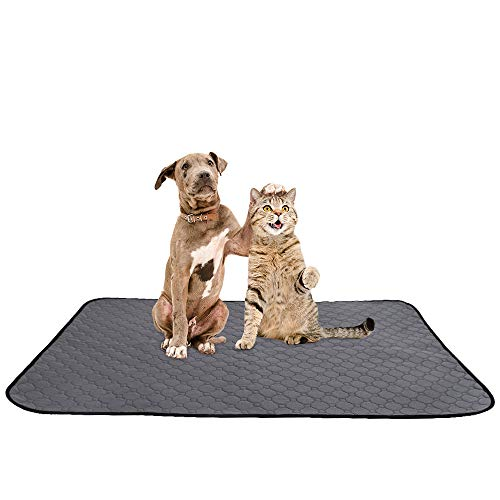 SlowTon Washable Dog Pee Pad, Reusable Waterproof Doggy Cats Potty Mat Super Fast Absorbent Comfortable Unscented No Leak Slip Housebreaking Training Whelping Travel Mat (L, 1 Pack)