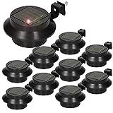 ECD Germany 10er Set LED Solar Dachrinnenleuchte 3LEDs Kaltweiß Schwarz - IP44 - Außen - Dachrinnenlampe Dachrinnenbeleuchtung Dachrinnen Solarlampen Solarlicht Wegeleuchten Zaunleuchten Gartenlampen