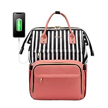 Laptop Backpack for Women Work Laptop Bag Stylish Teacher Backpack Business Computer Bags College Laptop Bookbag Stripe-Pink