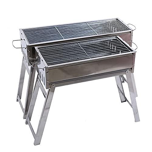 WXXMZY Estante para barbacoa, parrilla de acero inoxidable al aire libre, estufa de carbón plegable portátil, adecuado para jardín, camping, senderismo, picnic barbacoa herramientas (tamaño: L)