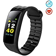 Antimi Fitness Tracker,Color Screen Waterproof Sports Smart Watch Wristband with Heart Rate Monitor, Activity Tracker Pedometer for iOS & Android (Black)
