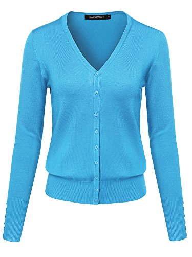 Basic Solid V-Neck Button Closure Long Sleeves Sweater Cardigan Sky Blue L
