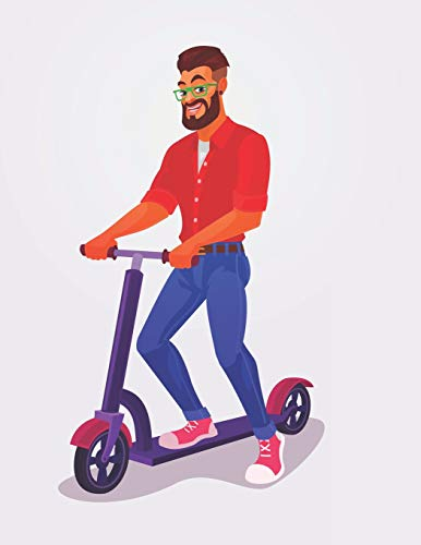 Guy on Kick Scooter | Blank Lined Notebook