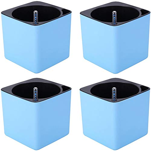 VERTIGREEN Self Watering Planters for Indoor Plants Small Plant Pots - Plastic Flower Pot for Orchid, African Violet, Spider Plant, Herb, Aloe, Venus Fly Trap, Ivy, Succulent, Square, Set of 4 (Blue)