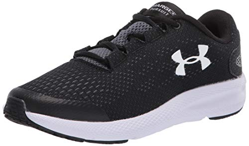 Under Armour Kids' Grade School Charged Pursuit 2 Sneaker, Black (001)/White, 5.5 M US Big Kid