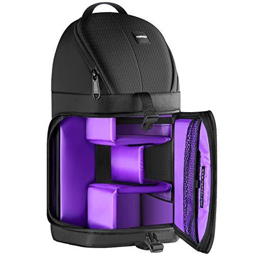Neewer Professionelle Riemen-Kamera-Speicher-Beutel reißfeste und wasserdichte Schwarze Rucksack Tasche für DSLR Kamera, Objektiv und Zubehör NW-XJB02S (lila Innen)