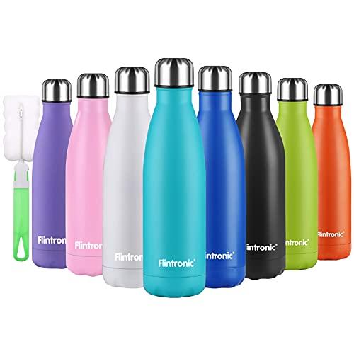 flintronic Botella Termica, 500ML Botella de Agua de Acero Inoxidable, Aislamiento de Vacío de Doble Pared, Botellas de Frío Caliente Sin BPA & Eco Friendly, con 1 Portavasos y 1 Cepillo