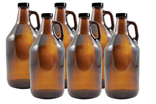 FastRack 64 oz Growler, 1/2 Gallon Glass Beer Growler, Half Gallon Glass Jug, Amber Growlers for Beer, 1/2 Gallon Glass Jug, Set of 6, Comes with 6 Poly Seal Caps