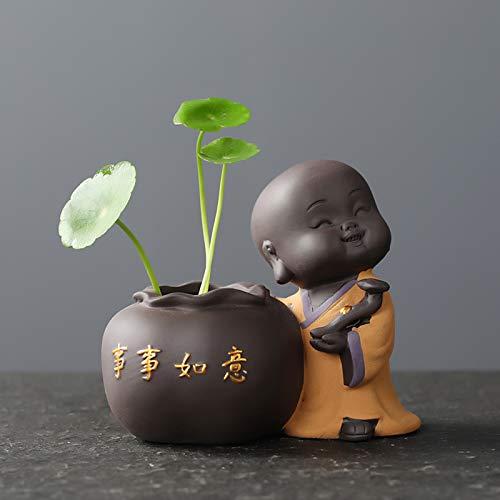 YUNDING Ceramic Tea Pet Ornaments Small Buddha Statue Monk Figurine Desktop Flower Pot Hydroponic Plant Decoration Tea Accessories(Color:1)