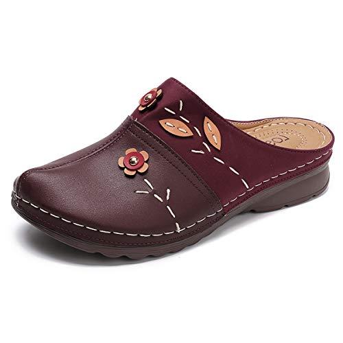 gracosy Zuecos para Mujer Cuero Verano Loafer Tacón Bajo Mules Planos Zapatos Zapatillas de Playa Antideslizantes Sandalias Redondo al Aire Libre
