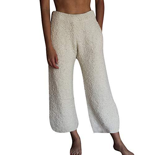 ZHANSANFM Plüschhose Damen, Frauen Fleece Plüsch Dicke Schlafanzughose Elegante Freizeithose Pants einfarbig Flauschige Sport Hosen warme weiche Home Jogginghose Yogahose (S, Beige)