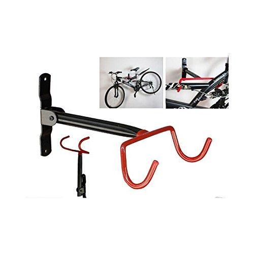Livivo® Double crochet mural rabattable pour vélo pour garage Support de rangement pour vélo Noir et rouge Avec vis de fixation