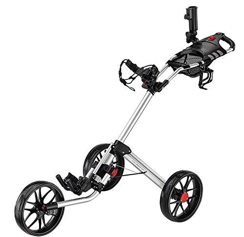CaddyTek Golftrolley 3 rad,golfwagen Super Quad Fold Golf cart-mit lager - tasche, silber