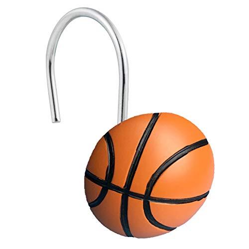 luckiner Juego de 12 ganchos decorativos para cortina de ducha con forma de baloncesto y estilo deportivo, resistentes al óxido.