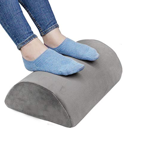 Ergonomic Foot Rest Under Desk Cushion 100% Memory Foam Pillow Non Slip Bottom Half Cylinder Padded for Leg Support for Home Office Airplane Plane Travel (Grey)