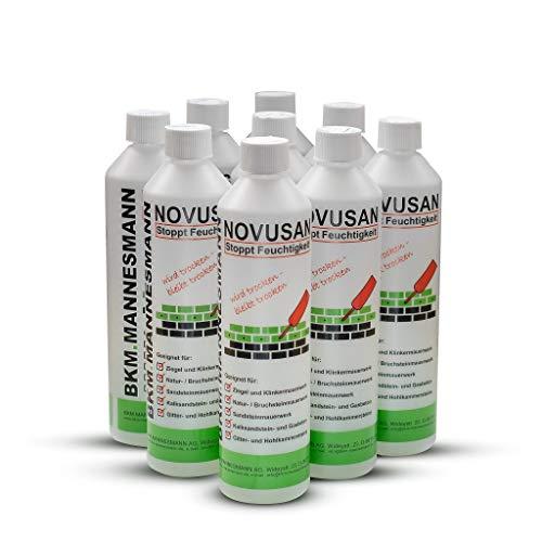 Novusan von BKM.Mannesmann, Horizontalsperre (12x500ml) zur Injektion gegen aufsteigende Feuchtigkeit in nassen Wänden und Mauern. Deutsche Markenqualität – MFPA geprüft & WTA zertifiziert!