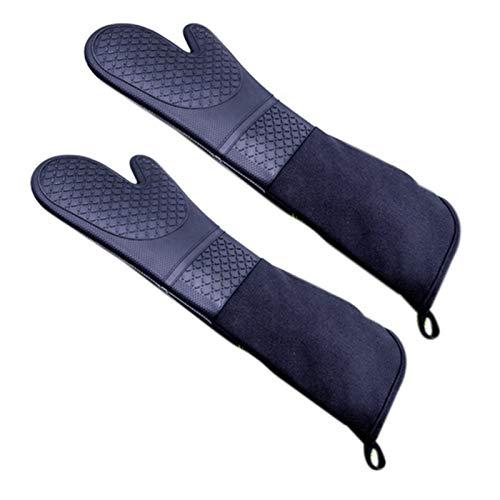 Baalaa 1 par de guantes profesionales de silicona para horno de horno guantes de longitud de codo resistentes al calor