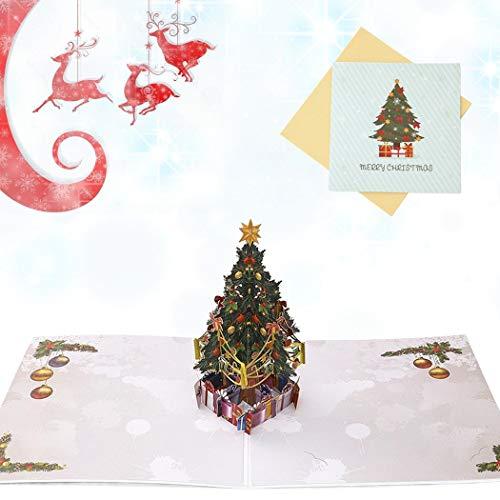 Sethexy 3D Cartoline natalizie Apparire Albero di Natale Biglietti d'auguri con buste Colorato Regali di buon Natale per la famiglia migliore amico fidanzato fidanzata