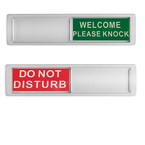 Privacy Sign, Do Not Disturb/Welcome Sign Shutter Changes When You Push IT for Home Office Restroom Conference Hotles Hospital, Slider Door Indicator 7'' x 2'' - Silver