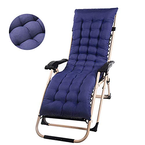 Sun Lounger Cushion Garden Furniture Cushions with 6 Pairs Bands Patio Thick Padded Relaxer Chair Seat Cover for Travel Holiday Garden Indoor Outdoor No Chair(1PCS, Navy Blue)