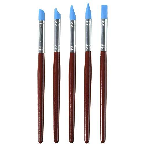 5 pinceles de silicona para pintar con punta de goma flexible, color azul, mango de madera roja