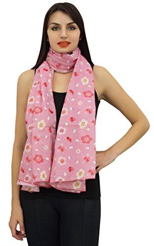 Phagun 100% algodón ligero, mantón, bufandas de la impresión floral de la bufanda de las mujeres Dupatta cuello del abrigo largo de la estola-Baby Pink