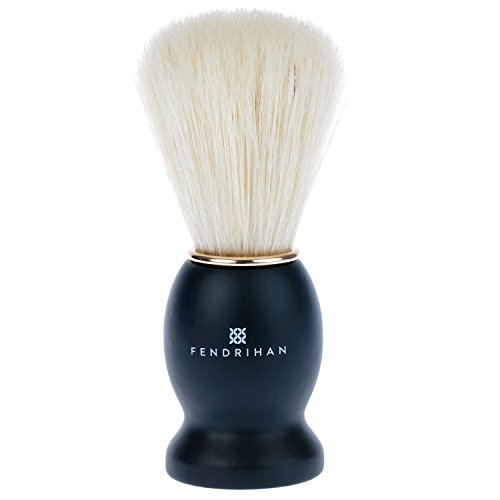 Fendrihan Pure Boar Bristle Shaving Brush with Black Wood Handle and Gold Rim for Personal and Professional Shaving