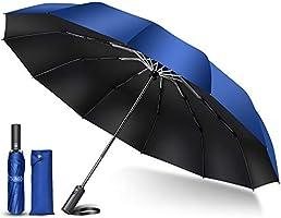 TSUNEO 折りたたみ傘 【2021最新 超大12本骨】 折り畳み傘 メンズ 大きい おりたたみ傘 自動開閉 台風対応 梅雨対策 耐強風 超撥水 晴雨兼用 男子日傘 UVカット ビッグサイズ メンズ レディース (ブルー)