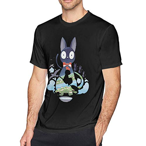 SOTTK Camisetas y Tops Hombre Polos y Camisas, Men's Crew Neck T-Shirt Kiki's-Delivery-Service-Flying-Jiji Cotton Casual Short Sleeve tee