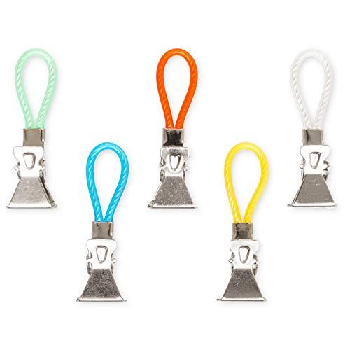 Aufhänger für Küchen Handtücher, 5er Pack, Handtuchhaken Set, geeignet für Topflappen und Geschirrtücher, Clips für Geschirrhandtücher, Handtuchklammer, 5 Farben Set, Camping Zubehör zum aufhängen